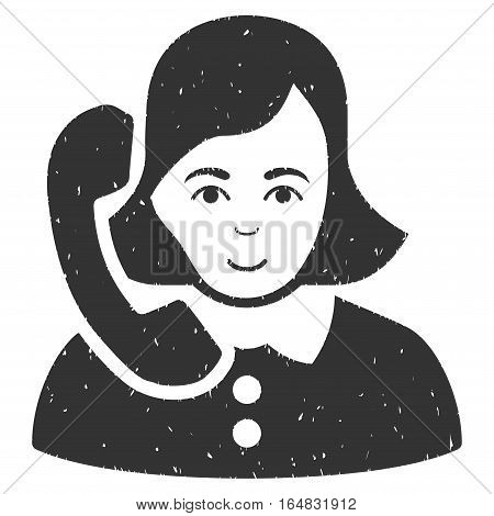 Receptionist grainy textured icon for overlay watermark stamps. Flat symbol with dust texture. Dotted vector gray ink rubber seal stamp with grunge design on a white background.