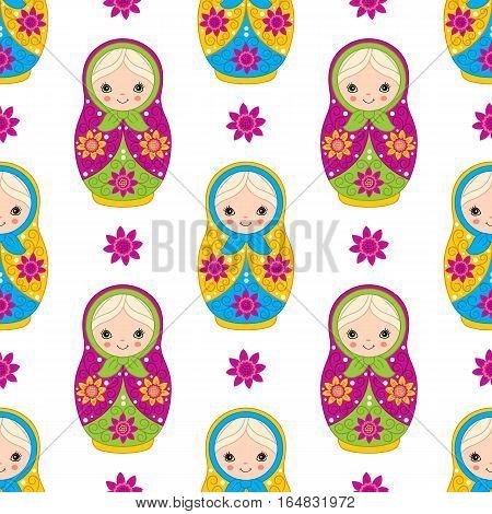 Vector seamless pattern with matryoshka, babushka doll, Russian matrioshka