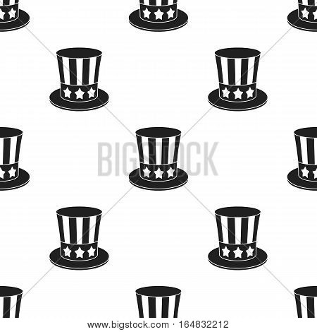 Uncle Sam's hat icon in black style isolated on white background. Patriot day pattern vector illustration.