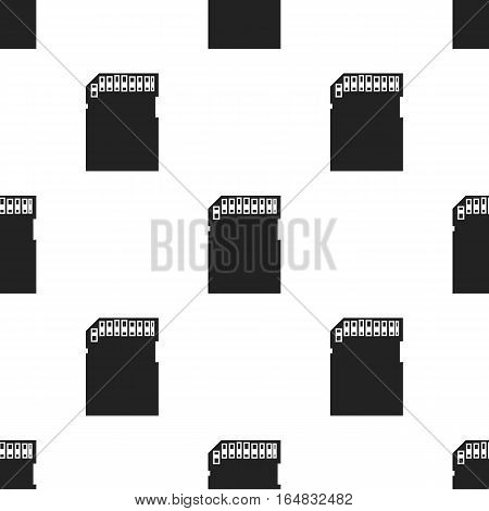 SD card icon in black style isolated on white background. Personal computer pattern vector illustration.