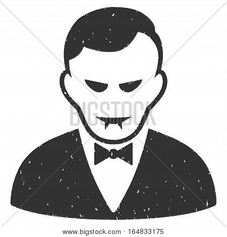 Vampire grainy textured icon for overlay watermark stamps. Flat symbol with unclean texture. Dotted vector gray ink rubber seal stamp with grunge design on a white background.