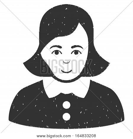 Woman grainy textured icon for overlay watermark stamps. Flat symbol with dirty texture. Dotted vector gray ink rubber seal stamp with grunge design on a white background.