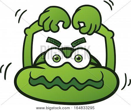 Big Head Monster Cartoon Character. Vector Illustration.