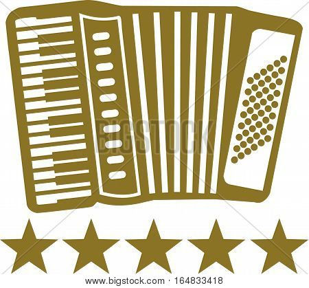 Gold Accordion with 5 stars under the icon