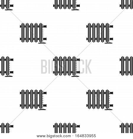 Radiator icon in black style isolated on white background. Plumbing pattern vector illustration.