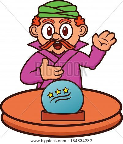 Fortune Teller with Magic Crystal Ball Cartoon Character