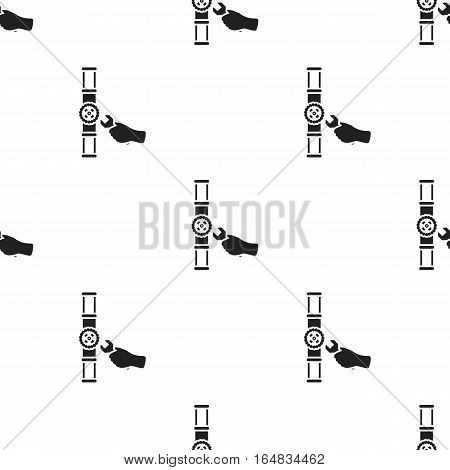 Wrench and valve icon in black style isolated on white background. Plumbing pattern vector illustration.