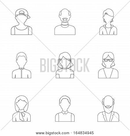Avatar set icons in outline style. Big collection of avatar vector symbol stock