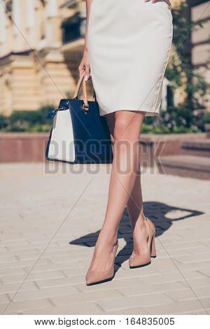 Close Up Of Elegante Slim Woman's Long Legs