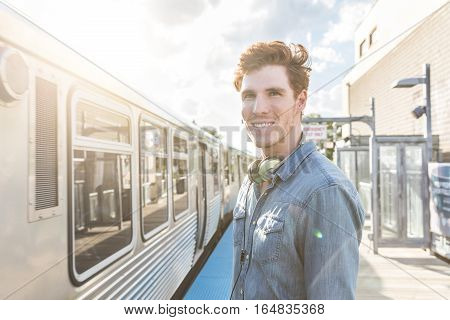 Young Man At Train Station In Chicago