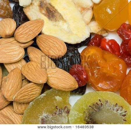 dried fruits and nuts in plate