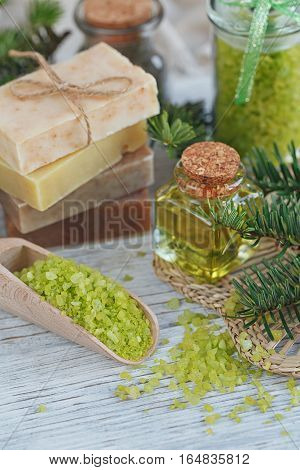 Natural Sea Salt And Handmade Soap Branch Of Pine
