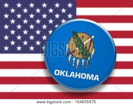 US State Button: Oklahoma Flag Badge 3d illustration on blurred USA flag