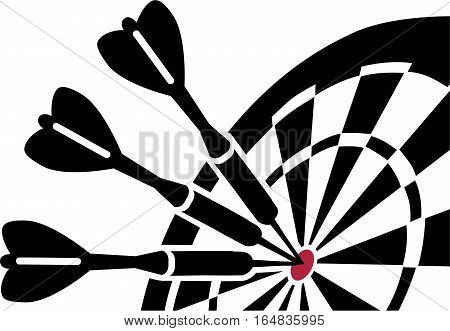 Dartboard with Darts and red target black