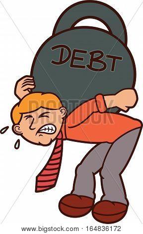 Man Carrying Huge Weights of Debt Cartoon Illustration
