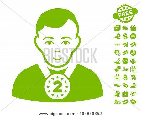 2nd Prizer Sportsman icon with free bonus images. Vector illustration style is flat iconic symbols eco green color white background.