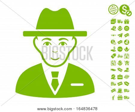 Agent icon with free bonus pictures. Vector illustration style is flat iconic symbols eco green color white background.