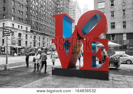 NEW YORK - MAY 3 2016: Love sculpture is an iconic Pop Art work by american artist Robert Indiana