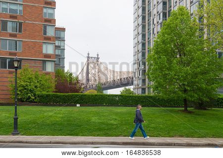 NEW YORK - MAY 3 2016: view on the queensboro bridge from roosevelt island