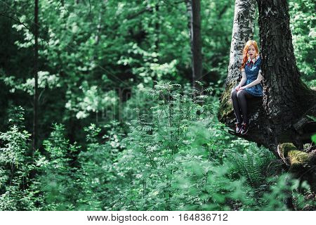 Red-haired girl in a blue dress climbed up a tree. Summer vegetation. Thumbelina. Birch, warm weather. A small woman in a large green forest. Adventure, fun, climbing