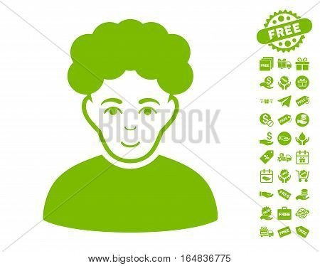 Brunet Man pictograph with free bonus pictograms. Vector illustration style is flat iconic symbols eco green color white background.