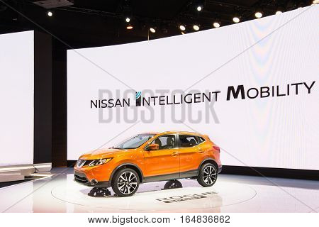 DETROIT MI/USA - JANUARY 9 2017: A Nissan Rogue Sport SUV at the North American International Auto Show (NAIAS).