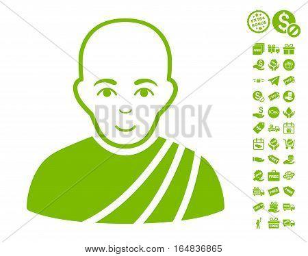 Buddhist Monk icon with free bonus symbols. Vector illustration style is flat iconic symbols eco green color white background.