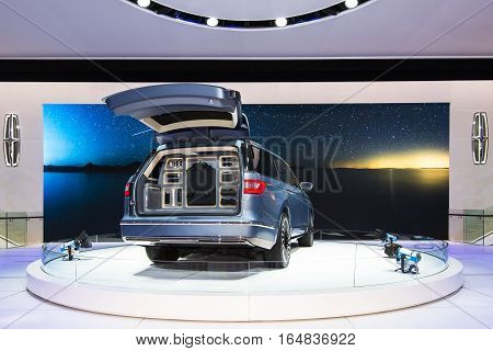 DETROIT MI/USA - JANUARY 9 2017: A Wardrobe system in the Lincoln Navigator Concept SUV at the North American International Auto Show (NAIAS).