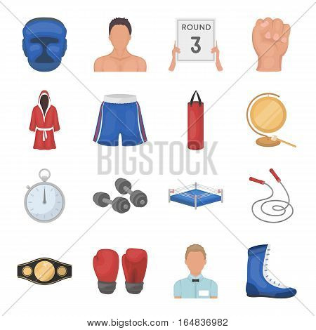 Boxing set icons in cartoon style. Big collection of boxing vector symbol stock