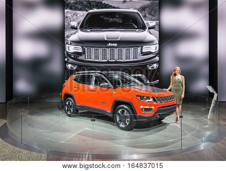 DETROIT MI/USA - JANUARY 9 2017: A 2017 Jeep Compass SUV at the North American International Auto Show (NAIAS).
