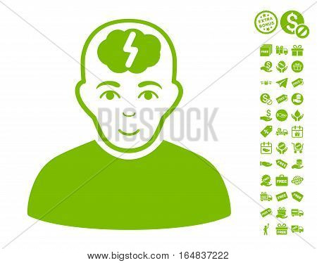 Clever Boy pictograph with free bonus clip art. Vector illustration style is flat iconic symbols eco green color white background.