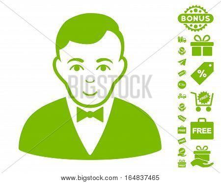 Dealer icon with free bonus design elements. Vector illustration style is flat iconic symbols eco green color white background.
