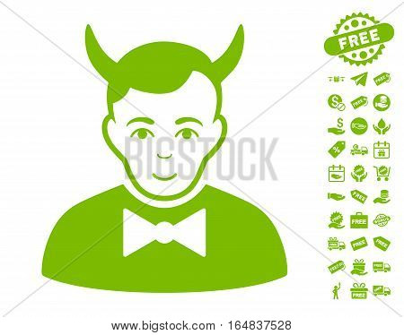 Devil icon with free bonus pictograph collection. Vector illustration style is flat iconic symbols eco green color white background.