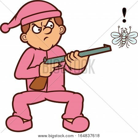 Man Threatening Mosquito with Gun Cartoon Illustration