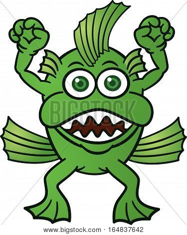 Monster Fish Cartoon Character. Vector Illustration Isolated on White.
