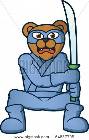 Ninja Bear with Sword Cartoon Illustration Isolated on White