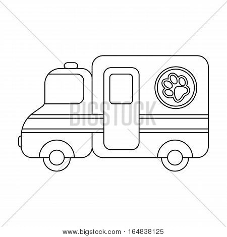 Veterinary ambulance icon in outline design isolated on white background. Veterinary clinic symbol stock vector illustration.