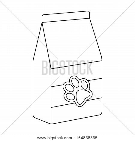Pet food icon in outline design isolated on white background. Veterinary clinic symbol stock vector illustration.
