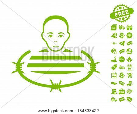 Isolated Prisoner icon with free bonus pictograms. Vector illustration style is flat iconic symbols eco green color white background.