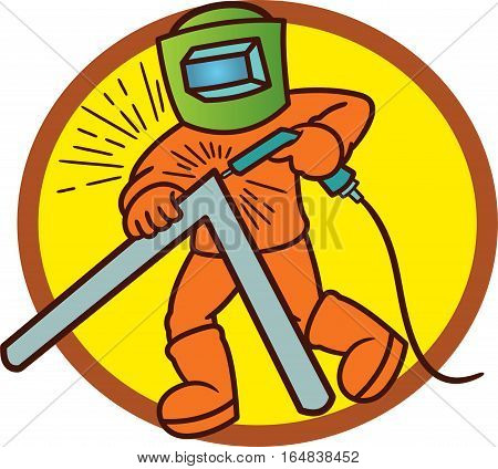 Welder Working Cartoon Illustration with Circle Background. Vector Character.