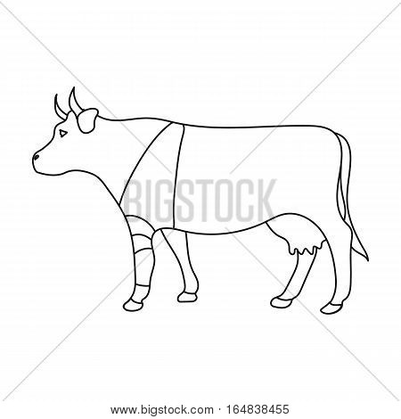 Sick cow with bandage on a leg icon in outline design isolated on white background. Veterinary clinic symbol stock vector illustration.