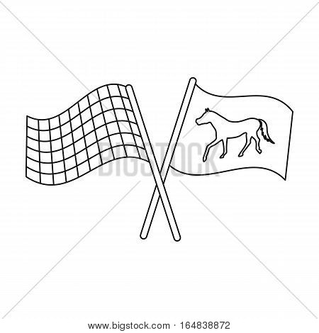 Crossed checkered and equestrian flags icon in outline design isolated on white background. Hippodrome and horse symbol stock vector illustration.