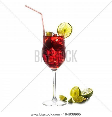 Red cocktail fresh transparent mixed drink from cherries berries ice and lime with or without alcohol isolated on a white background