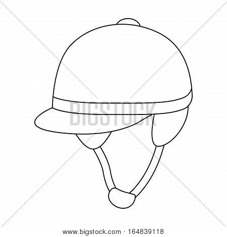 Jockey s helmet icon in outline design isolated on white background. Hippodrome and horse symbol stock vector illustration.