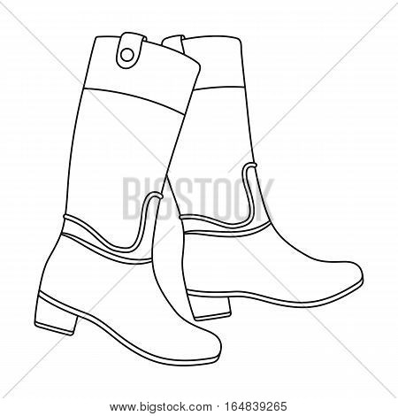 Jockey s high boots icon in outline design isolated on white background. Hippodrome and horse symbol stock vector illustration.