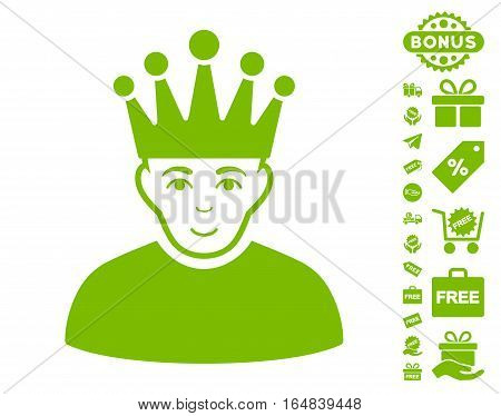 Moderator icon with free bonus images. Vector illustration style is flat iconic symbols eco green color white background.