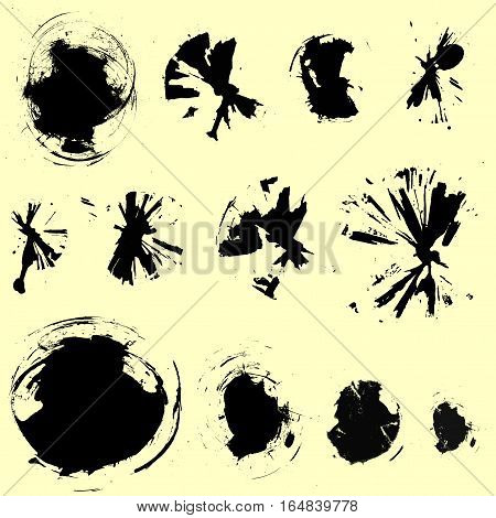 set of radial brush stains, different shapes