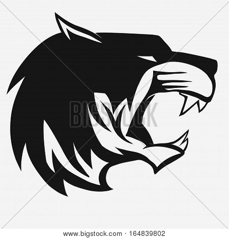 Tiger logo. Black Mascot head, wild animal portrait emblem, predator face silhouette, Hand drawn Emblem t-shirt design. Vector