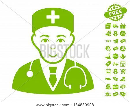 Physician pictograph with free bonus clip art. Vector illustration style is flat iconic symbols eco green color white background.