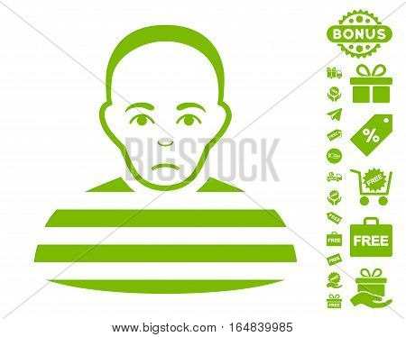 Prisoner pictograph with free bonus images. Vector illustration style is flat iconic symbols eco green color white background.